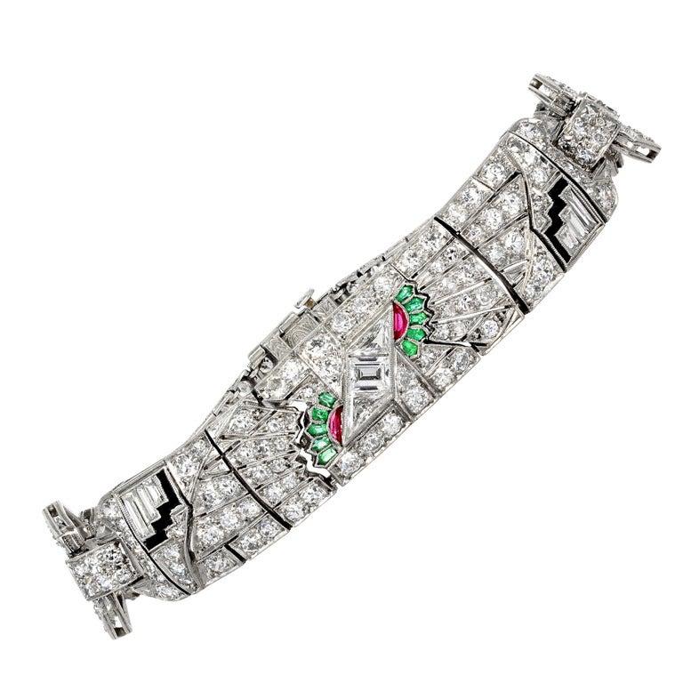 Art Deco Egyptian Revival Gem Set Diamond Platinum Flexible Bracelet