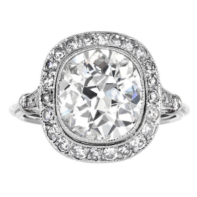 Antique Cushion Cut Diamond Engagement Ring at 1stdibs