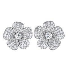 Diamond Platinum Flower Earrings