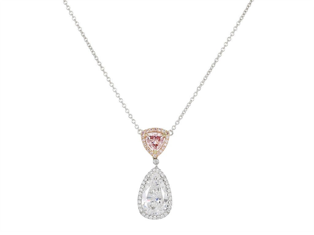 Colorless and Natural Pink Diamond Pendant 2