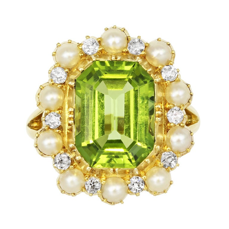 Peridot Pearl Diamond Cluster Ring At 1stdibs