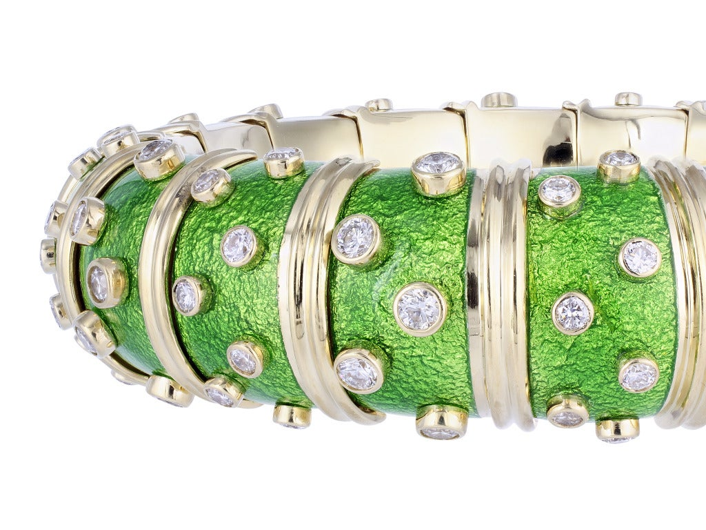 Tiffany & Co. Schlumberger Paillonne Enamel Diamond Bangle Bracelet 3