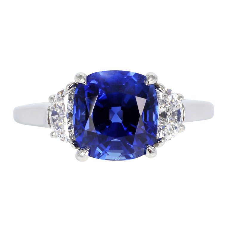 Tiffany & Co. No Heat Sapphire Ring For Sale
