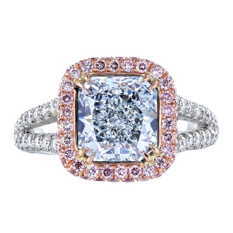 Natural Light Blue and Pink Diamond Ring at 1stdibs