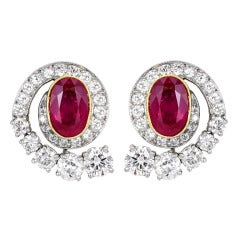 4.34 Carat No Heat Ruby Diamond Platinum Earrings