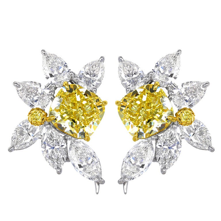 Natural Yellow Diamond Gold Platinum Cluster Earrings