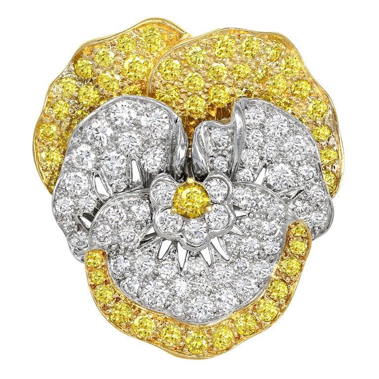 Oscar Heyman for Tiffany & Co. Diamond Pansy Pin For Sale