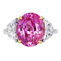 6.70 Carat Pink Sapphire Diamond Gold Platinum Three-Stone Ring