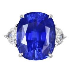 13.02 Carat Cushion Cut Sapphire Diamond Ring