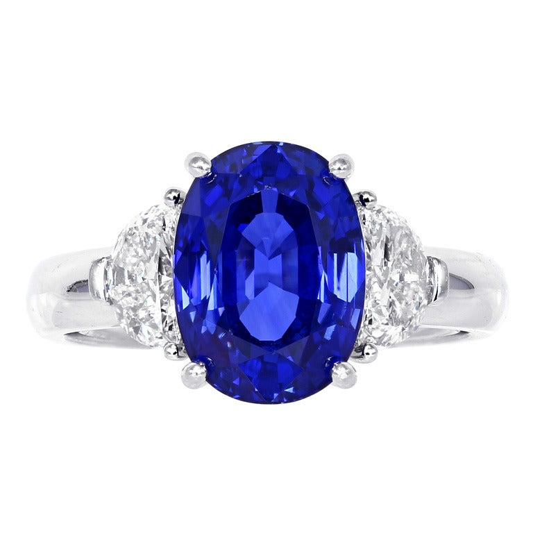 5 14 Carat Ceylon Sapphire Diamond Ring At 1stdibs