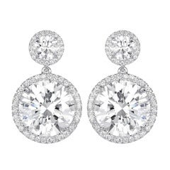 12.02 Carats of Round Brilliant GIA Cert Diamond platinum Drop Earrings