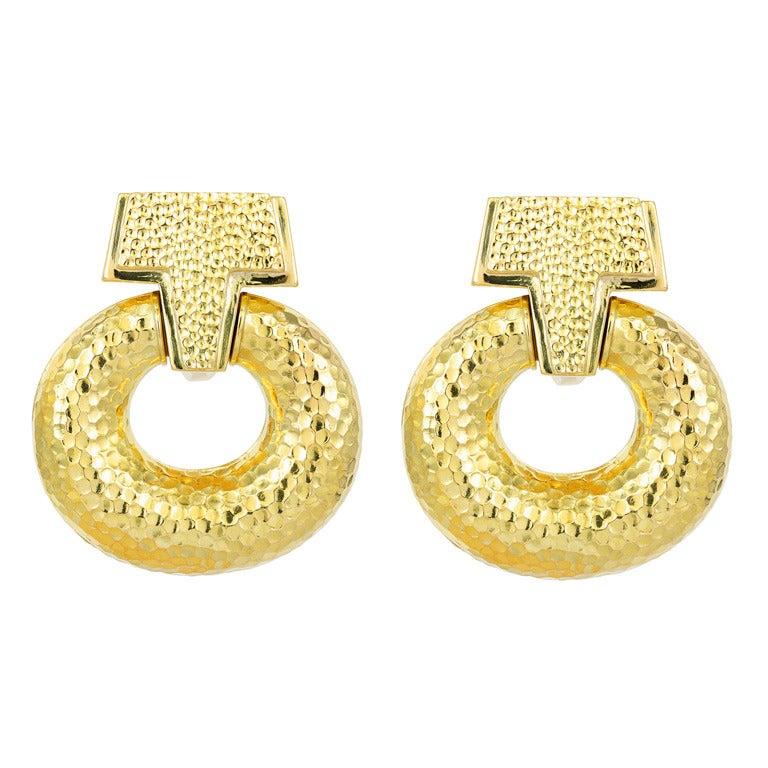 David Webb Gold Door Knocker Earrings