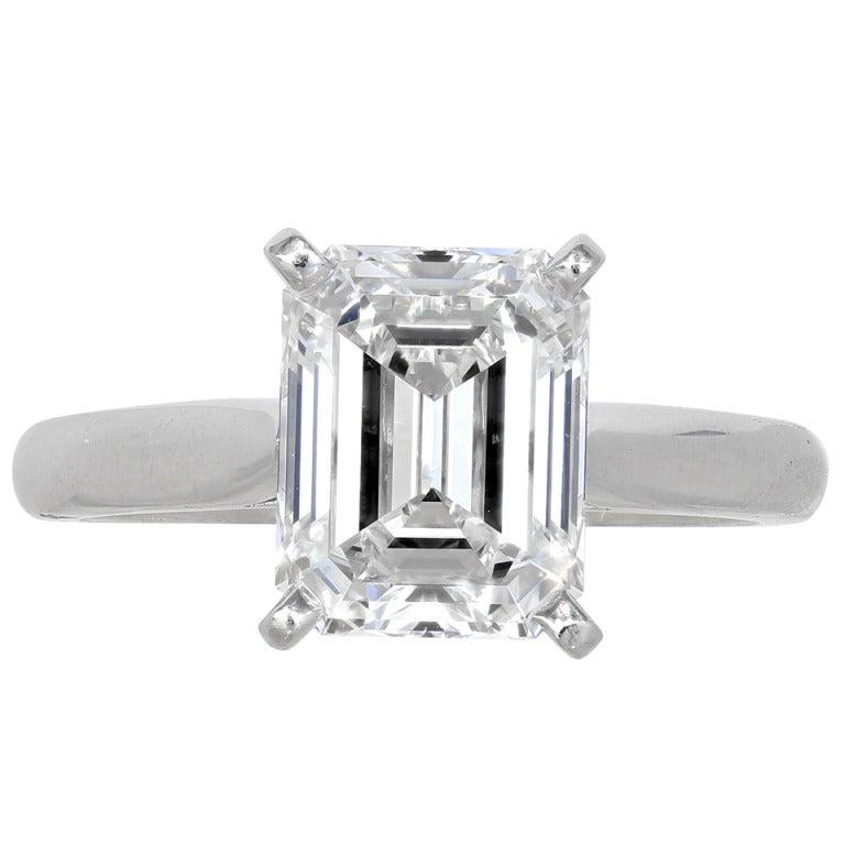 Cartier 2 63 Carat Emerald Cut Diamond Solitaire Ring At