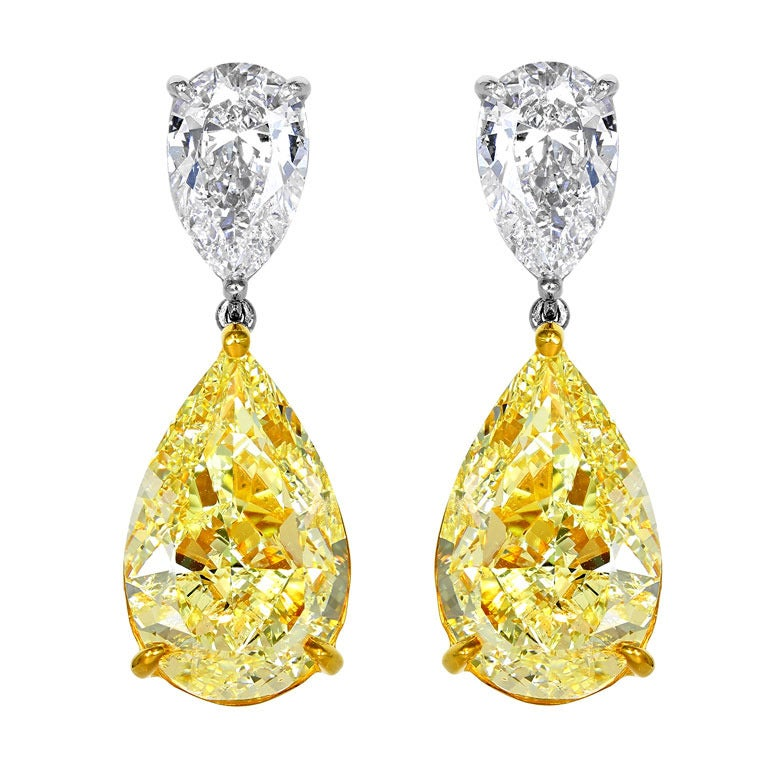 Natural 16 12 Carats Of Yellow Diamond Drop Earrings At
