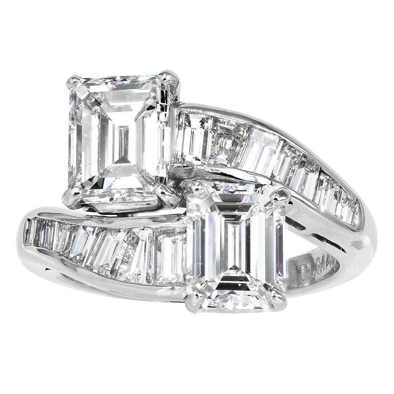 Emerald Cut Diamond Platinum Bypass Ring At 1stdibs