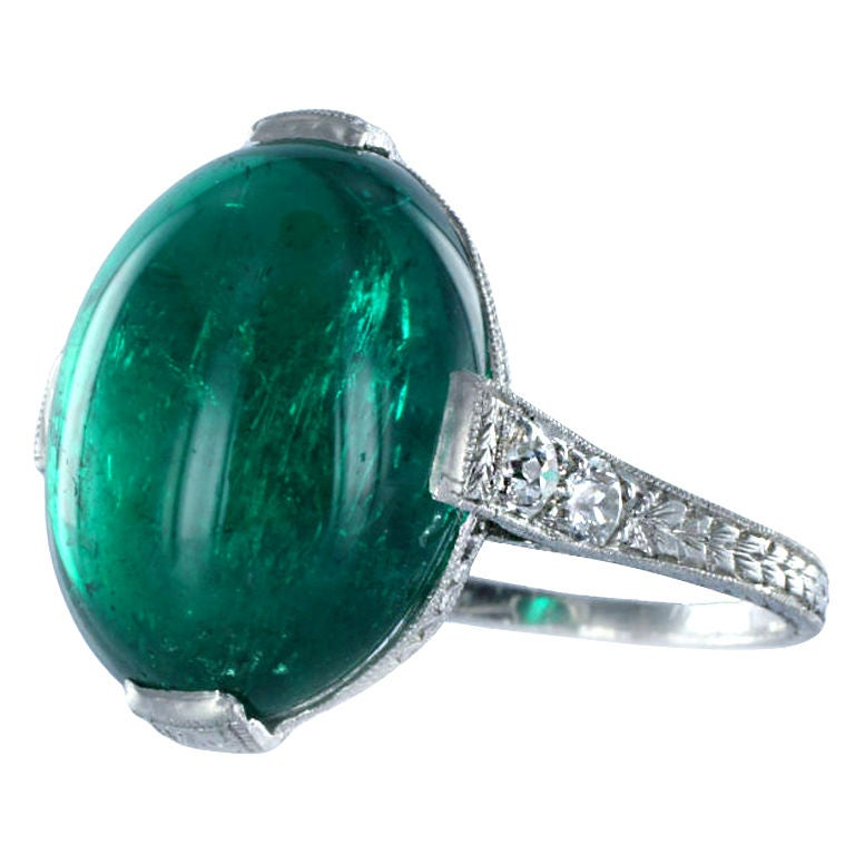 Fine Cabochon Colombian Emerald Ring Estate Collection At