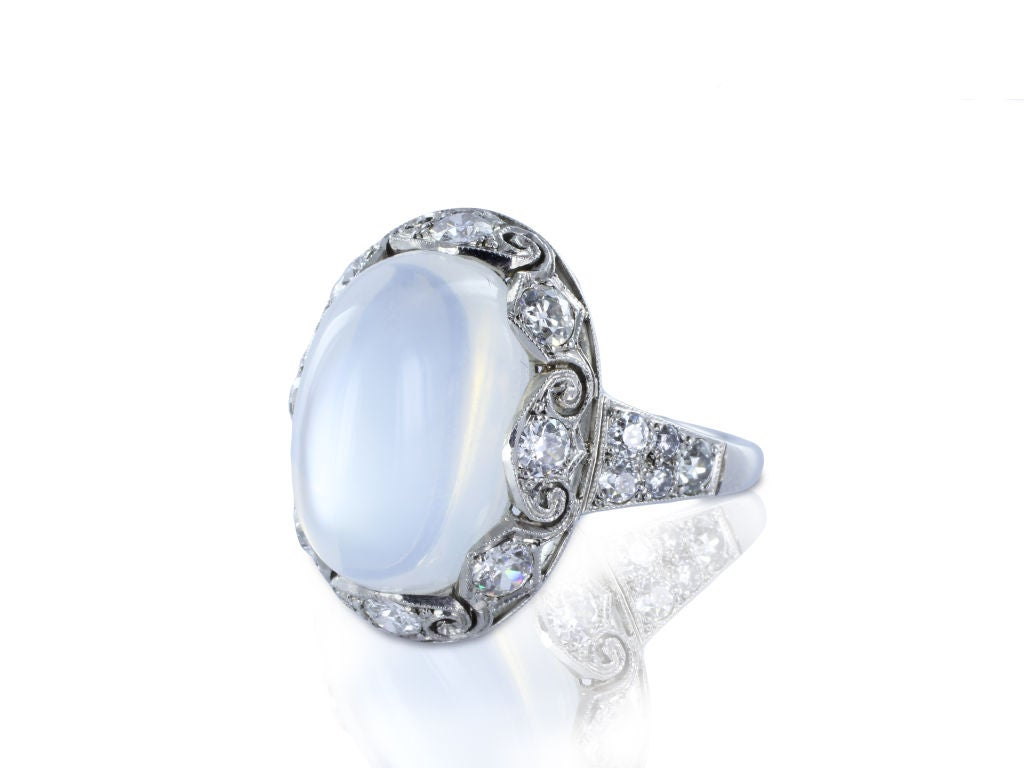 Alluring Moonstone And Diamond Ring At 1stdibs