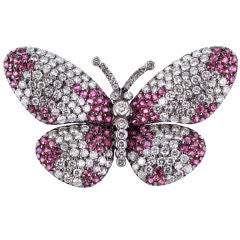 Ruby and Diamond Butterfly Pin