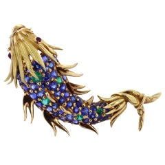 1960s Tiffany & Co. Schlumberger Sapphire Demantoid Fish Pin