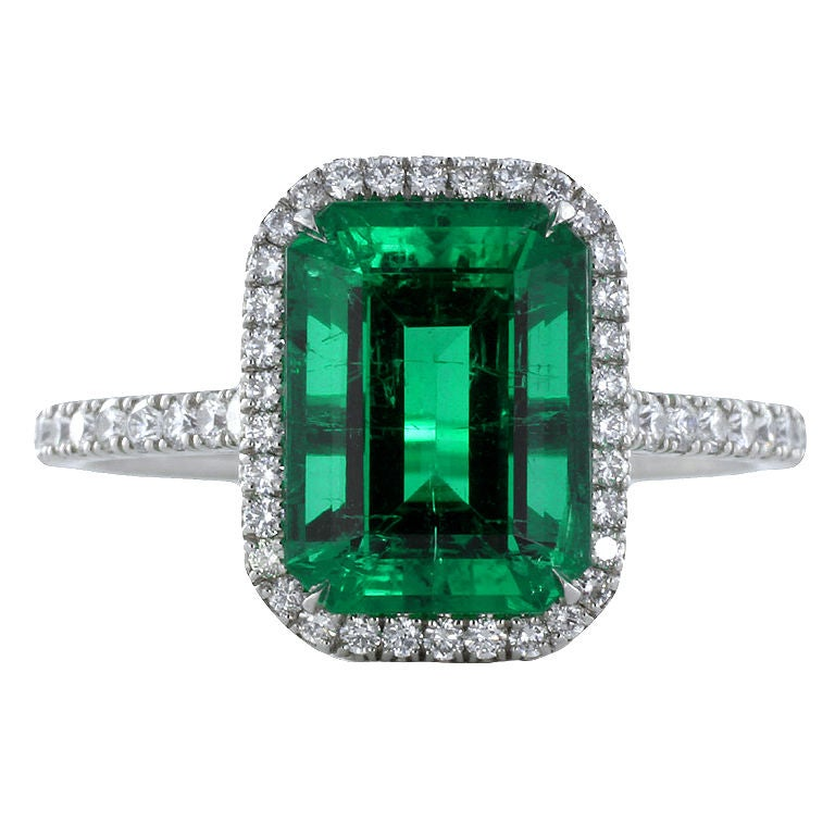 Rare No Treatment Colombian Emerald Ring At 1stdibs