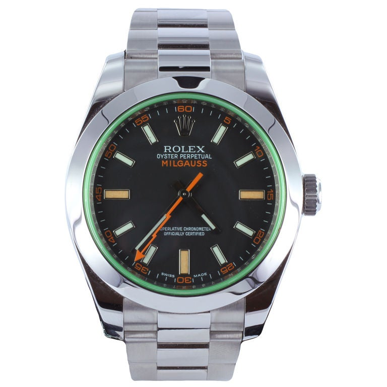 ROLEX MILGAUSS Green Sapphire Wrist Watch at 1stdibs
