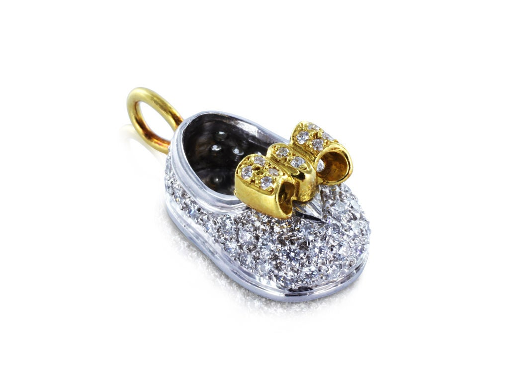 Diamond Gold Platinum Baby Bootie Pendant Charm For Sale ...