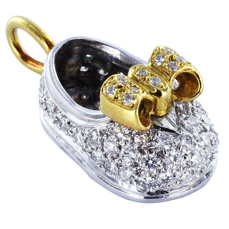 Diamond Gold Platinum Baby Bootie Pendant Charm