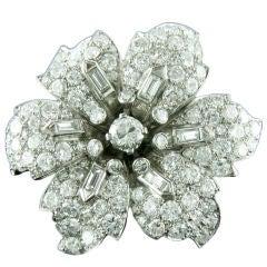1930s 12 Carats Diamonds Platinum Flower Brooch