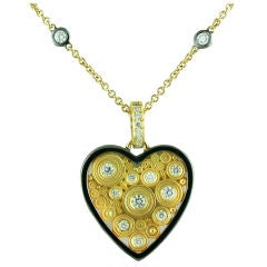 Diamond Two Color Gold Heart Necklace