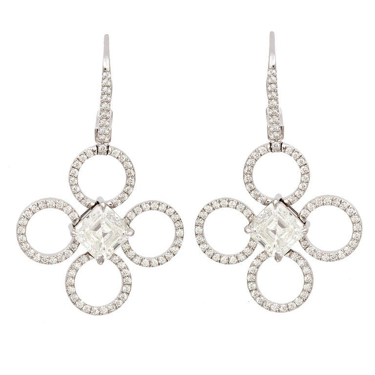 Daniel k diamond platinum clover earrings at 1stdibs for Same day jewelry repair