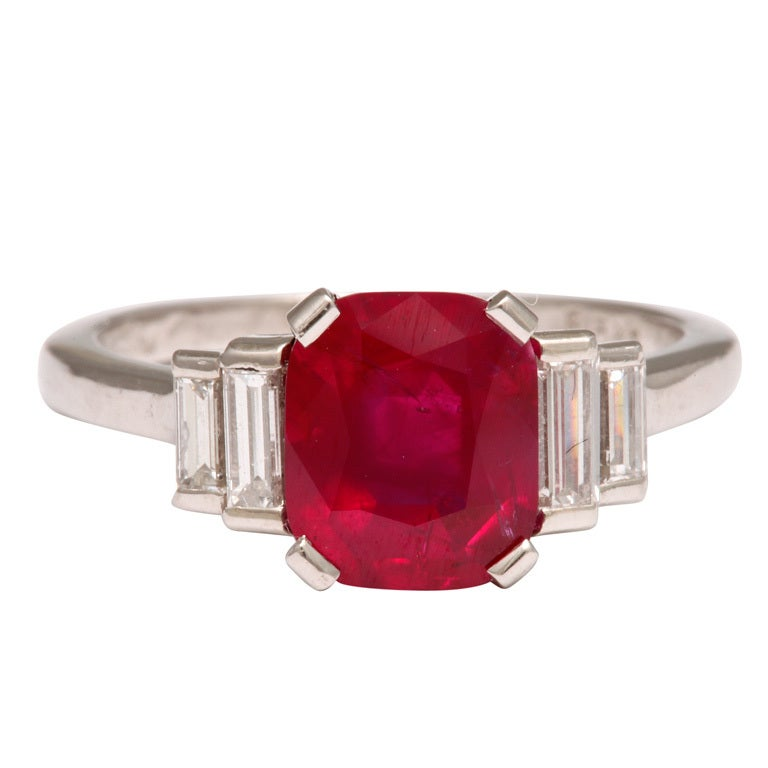 Emerald Cut No Heat Burma Ruby Diamond Platinum Ring