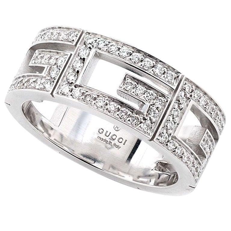 Gucci White Gold Diamond G Ring At 1stdibs