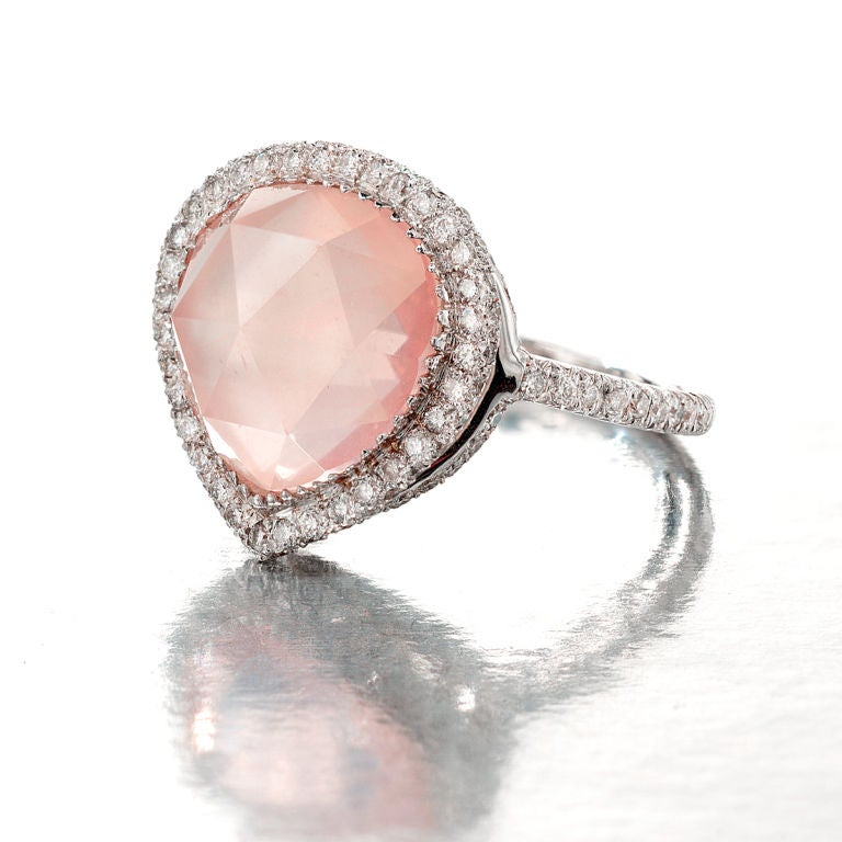 LAURA MUNDER Contemporary Rose Quartz and Diamond Ring <br /> <br /> Original retail price $7500.<br /> <br /> Windsor Jewelers are proud to offer world famous signed jewels for the most advantageous prices.