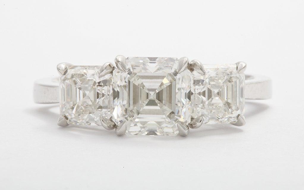 square cut three engagement ring at 1stdibs