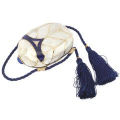 FRED PARIS Scarab Evening Bag 18KT Diamonds Lapis Pearl