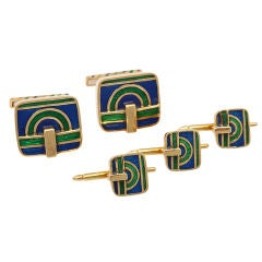 DAVID WEBB Stud Set 5 Piece 18KT Gold Blue Green Enamel