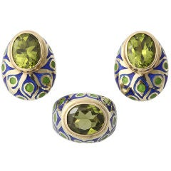 Peacock Blue and Green Enamel Peridot Ring and Ear Clips Suite