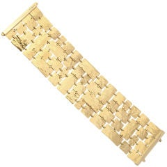 GUCCI Bracelet 18KT Gold Leather Textured Wide 1970's