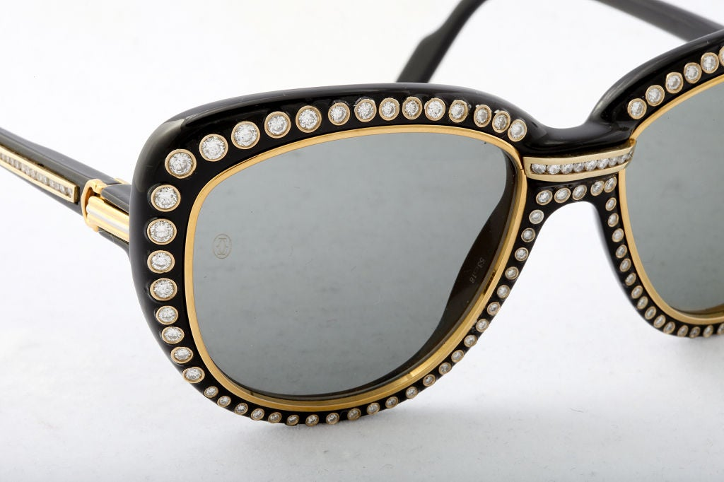 CARTIER PARIS 18KT Gold Sunglasses with 188 Diamonds at ...