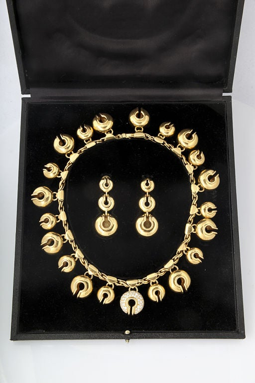 """MARINA B. Gold and Diamond """"Campanelle"""" Necklace and Ear Clips 2"""