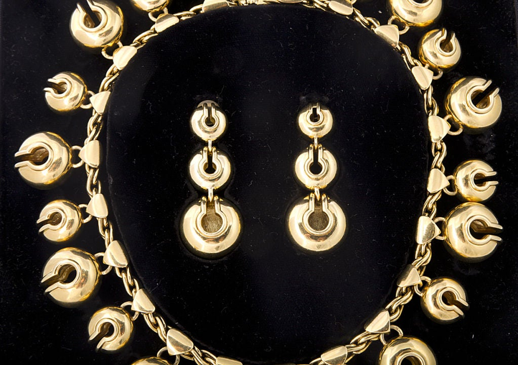 """MARINA B. Gold and Diamond """"Campanelle"""" Necklace and Ear Clips 4"""