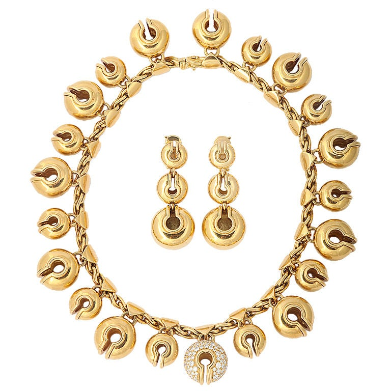 "MARINA B. Gold and Diamond ""Campanelle"" Necklace and Ear Clips"