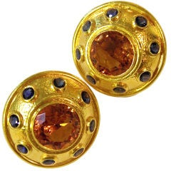 ZOLATAS Large Citrine and Sapphire Earclips
