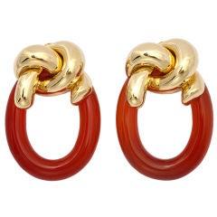 CARTIER - ALDO CIPULLO Carnelian Gold Knot Hoop Ear Clips
