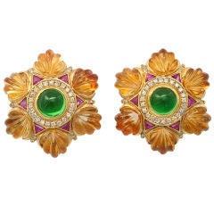 Carved Golden Citrine Ruby Green Tourmaline Diamond Gold Earclip