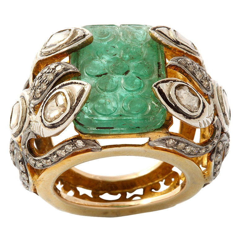 carved emerald and gold ring at 1stdibs