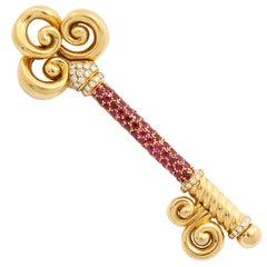 Ruby Diamond Gold Key Brooch