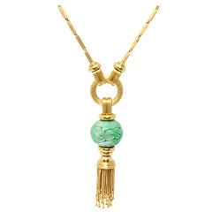 HENRY DUNAY Tassel Necklace with Antique Carved Jade