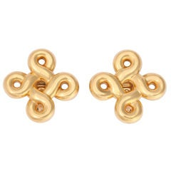 CHANEL Bold Gold Heraldic Knot Ear Clips