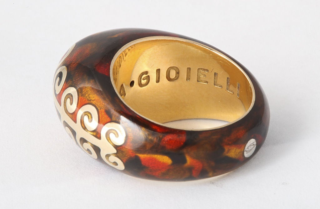 Women's FIDIA GIOIELLI Tortoise Enamel Gold Dome Ring For Sale
